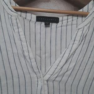 Sanctuary pinstriped linen A-line top